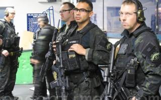 圣荷西警局为准备超级碗,举行实弹演习。(李文净/大纪元)