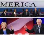 2月1日(下周一),民主党和共和党总统提名初选将在爱荷华州拉开帷幕,标志着美国2016年总统大选正式启动。上图为此前共和党辩论会,下图为民主党辩论会。(大纪元合成图)