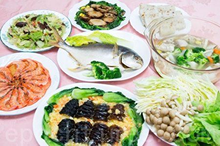 台湾国健署表示,年菜多为高油、高脂、勾芡等,民众应慎选食材、自己动手做年菜。图为示范套餐。(陈柏州 /大纪元)