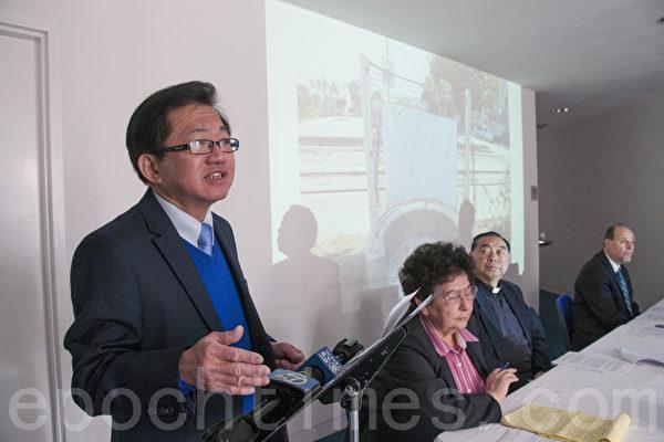 2月5日,平等公義協會主席李少敏在舊金山表示,這種露天小便池是在挑戰人們的道德底線。(周鳳臨/大紀元)