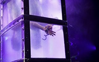 逃生术魔术师巴索(Andrew Basso)表演惊险的《水牢逃生》魔术。(《魔术师》提供)