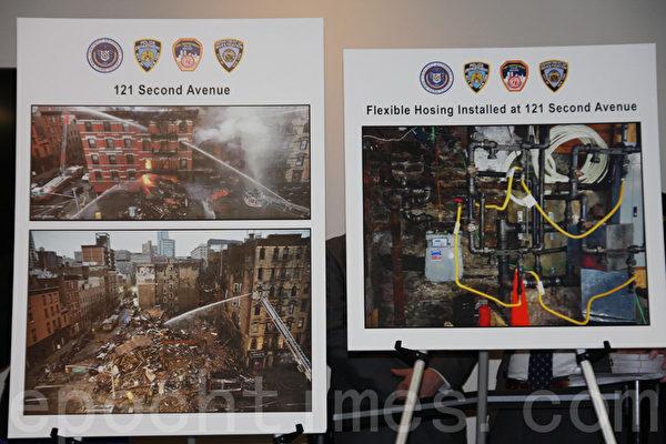 曼哈頓東村爆炸案現場和2大道121號,從煤氣管道上私接的黃色「軟管」。(蔡溶/大紀元)