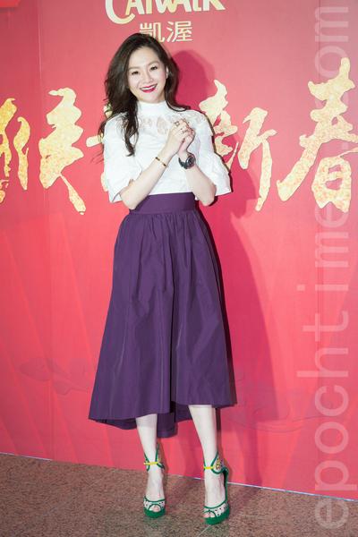 凱渥經紀公司2月15日在台北舉辦新春團拜,圖為名模張嘉雲(花花)。(陳柏州/大紀元)
