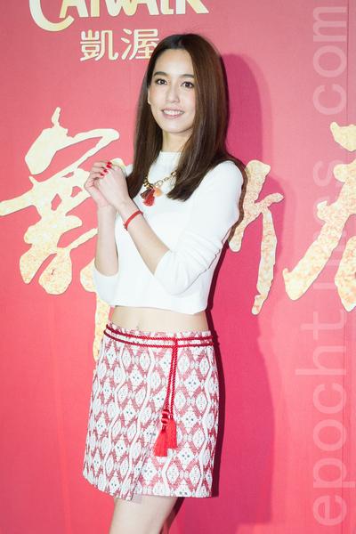 凱渥經紀公司2月15日在台北舉辦新春團拜,圖為名模陳庭妮。(陳柏州/大紀元)