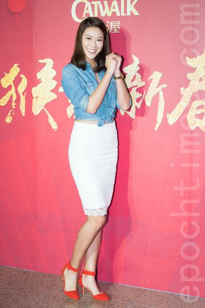 凱渥經紀公司2月15日在台北舉辦新春團拜,圖為名模林又立。(陳柏州/大紀元)