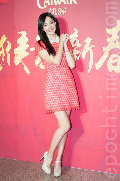 凱渥經紀公司2月15日在台北舉辦新春團拜,圖為名模王心恬。(陳柏州/大紀元)