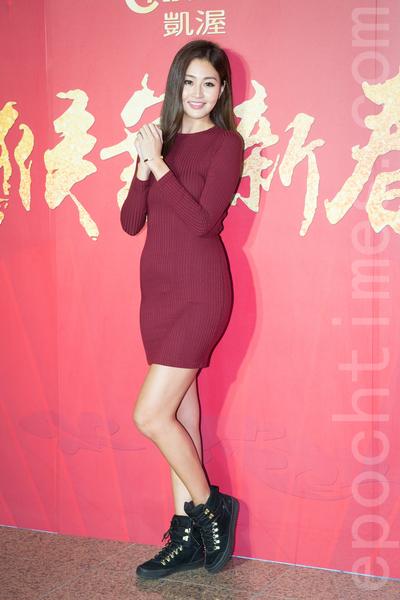 凱渥經紀公司2月15日在台北舉辦新春團拜,圖為名模林葦茹。(陳柏州/大紀元)