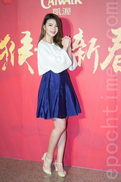 凱渥經紀公司2月15日在台北舉辦新春團拜,圖為名模林佳陵。(陳柏州/大紀元)