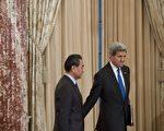 23日下午,美国国务卿克里和到访的中共外长王毅就朝鲜问题及南海局势展开会谈,并随后举行联合记者会。(AFP)