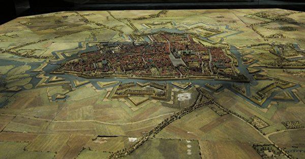 利尔艺术宫(Palais des Beaux-Arts, Lille)收藏的Ypres城的立体模型, 1698-1702年。(公共领域)