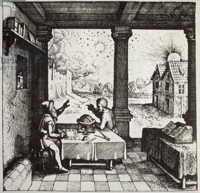 《正在预测天相的占星师》,出自罗伯特·弗拉德着:《两个世界的历史》,1617年。(公共领域)