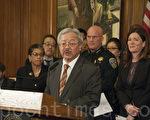 旧金山市长李孟贤22日宣布将推行警察综合配套改革。(周凤临/大纪元)
