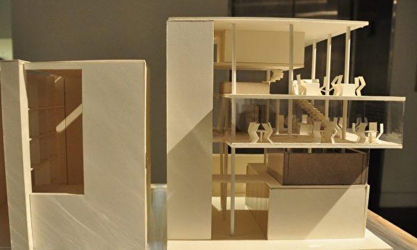 展出的建築模型作品之一。(賴月貴/大紀元)