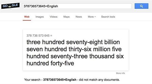 """只要在谷歌的搜索栏上输入:""""指定数字=English"""",系统马上出现你要的答案。(凌妃/大纪元)"""