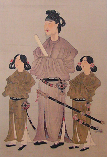 「唐本禦影」,聖德太子(中)及其皇弟殖栗皇子(左)和長子山背大兄王(右)的肖像畫。雕版印刷畫,公元8世紀。(公共領域)