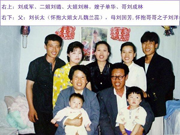 刘成军的全家福,右1为刘成军,中间是大姐刘琳。(明慧网)