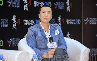 甄子丹2015年10月在香港宣传《叶问3》。(宋祥龙/大纪元)