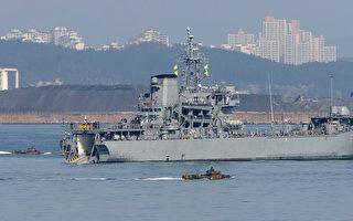 """韩国与美国自2016年3月7日起举行代号为""""关键决断""""和""""鹞鹰""""的联合军事演习,直到4月30日。图为参与本次演习的韩国军舰。(YONHAP / AFP)"""