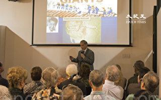 """加州圣地亚哥中华历史博物馆目前举行""""华工与铁路""""展览。3月5日邀请华工后裔Russell Low医生做题为""""巨人的工作-华工和州际铁路""""的演讲,感动在场听众。(杨婕/大纪元)"""