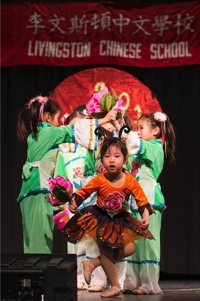 """儿童民族舞蹈""""小花绽放""""。(李文斯顿中文学校提供)"""