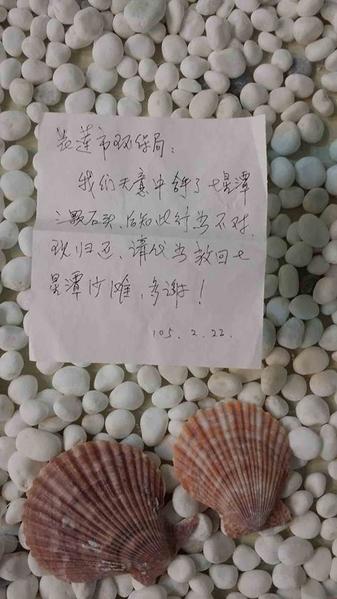 中国大陆1名游客到花莲七星潭游玩时,捡了3颗海滩石头回家作纪念,事后得知不仅违法还会破坏生态,深感懊悔,邮寄给花莲县环保局请求代为归还。(花莲县环保局提供)