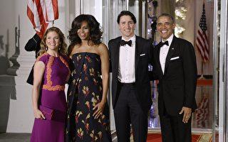 週四(3月10日)晚,美國總統奧巴馬夫婦在白宮舉辦國宴宴請來訪的加拿大總理特魯多伉儷,蜜雪兒再次選中華人設計師吳季剛設計的禮服。 (Olivier Douliery-Pool/Getty Images)