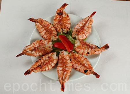 烤大蝦。(張學慧/大紀元)