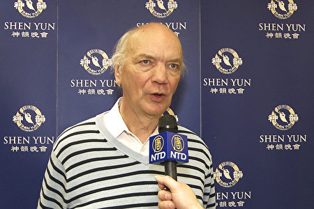 Jürgen Hennig于2016年3月13日中午在法兰克福观看了神韵演出。(新唐人电视台提供)