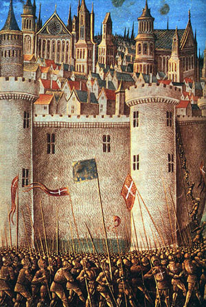 第一次十字軍東征時的安條克之圍(The Siege of Antioch)。出自中世紀的泥金裝飾手抄本,Jean Colombe作品,約1490年。(公共領域)