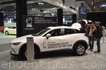 2016年3月9日-13日,卡尔加里国际汽车展在BMO中心举办。图为Mazda CX-3。(黄钟乐/大纪元)