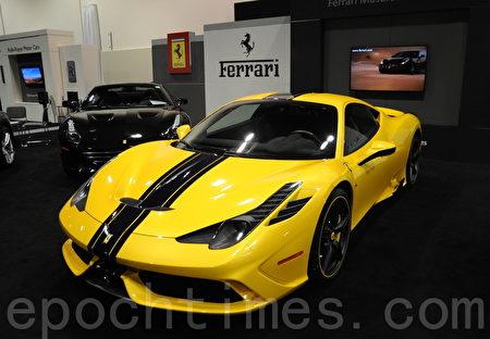 2016年3月9日-13日,卡爾加里國際汽車展在BMO中心舉辦。圖為Ferrari 458。(黃鐘樂/大紀元)