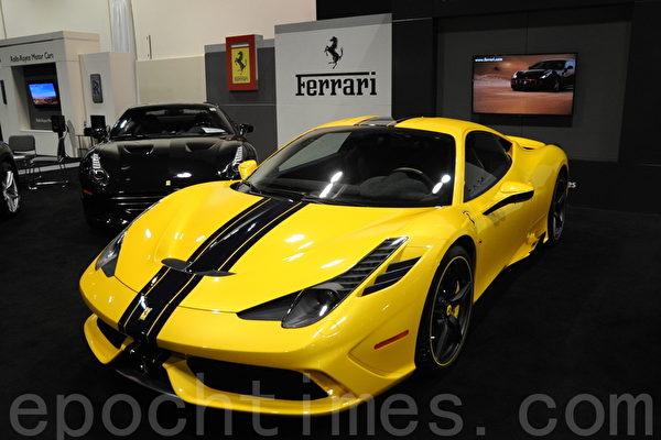 2016年3月9日-13日,卡尔加里国际汽车展在BMO中心举办。图为Ferrari 458。(黄钟乐/大纪元)