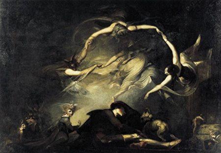 海因里希‧富塞利(Heinrich Fussli)1793年所绘《失乐园》(Paradise Lost)之一帧《牧羊人之梦》(The Shepherd's Dream)。(公共领域)