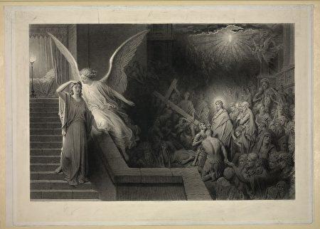 法国版画家居斯塔夫‧多雷(Gustave Doré)1870年前后创作的《彼拉多妻子之梦》(The Dream of Pilate's Wife)。(公共领域)