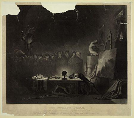 康姆基斯(George H. Comegys)1840年所作《艺术家之梦》(The Artist's Dream)。(公共领域)
