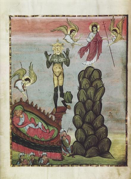 《尼布甲尼撒王之梦》(The Dream of King Nebuchadnezzar),10世纪画作,德国班贝格国家图书馆藏。(公共领域)