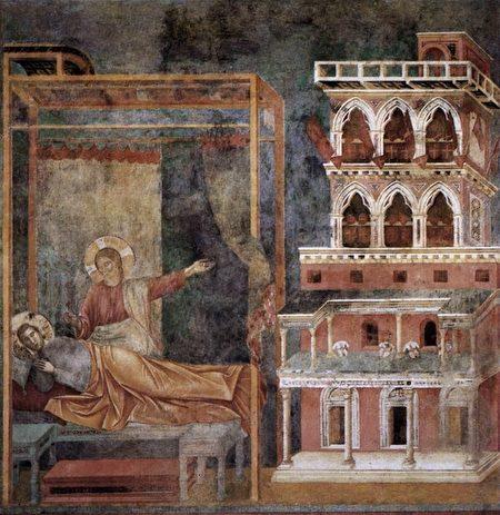 乔托1297至1299年间绘制的《圣方济各传说:3.宫殿之梦》(Legend of St Francis: 3. Dream of the Palace)。(公共领域)