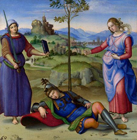 拉斐尔(Raphael)的《骑士之梦》(Vision of Knight)作于约1504年。(公共领域)