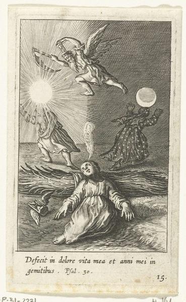 17世纪荷兰铜板画家博斯维尔特(Boetius Adamsz Bolswert)的《一个孩子的时间流逝之梦》(A Child Dreams of the Passing of Time)。(公共领域)