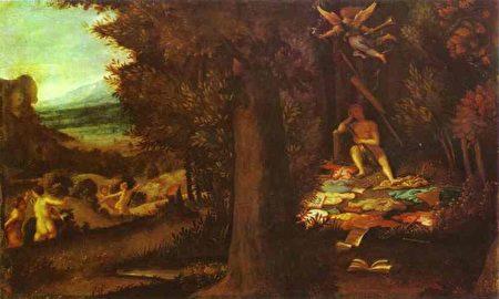 意大利文艺复兴威尼斯画家洛伦佐‧洛托(Lorenzo Lotto)所作《沉睡的太阳神阿波罗、缪斯女神和传闻女神法玛》(Sleeping Apollo, Muses and Fama)。(公共领域)