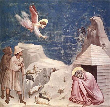 乔托1305年绘制的《约阿希姆之梦》(The Dream of Joachim)。(公共领域)