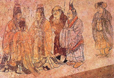 章懷太子墓壁畫 胡服、漢服使者(公共領域)