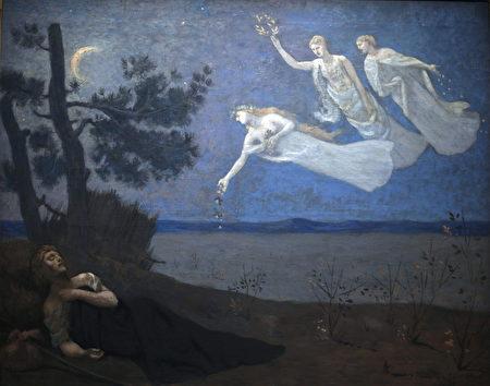 皮埃尔‧皮维‧德‧夏凡纳(Pierre Puvis de Chavannes)的《梦》(The Dream,局部),1883年作,巴黎奥赛美术馆藏。(公共领域)