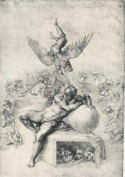 米开朗琪罗,《人类生活之梦》(The Dream of Human Life),炭笔素描,约1533年作,英国科陶德艺术学院藏。(公共领域)