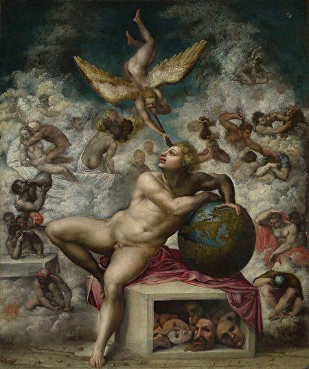 《人类生活之梦》(The Dream of Human Life),岩板油画,米开朗琪罗追随者作于1533年至1564年间,伦敦国家美术馆藏。(公共领域)