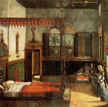 维托雷‧卡帕乔(Vittore Carpaccio)的《圣乌苏拉之梦》(The Dream of St Ursula),蛋彩画,作于1495年,威尼斯学院画廊收藏。(公有领域)