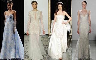 2016年婚紗時尚,左起:NAEEM KHAN的水彩印花圖案,RIVINI的公主長裙,OLEG CASSINI的維多利亞風婚紗,CHRISTOS的水滴形V字領。(大紀元合成圖)
