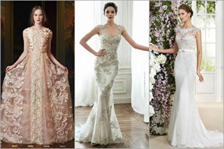 3D婚纱,左起:MARCO & MARIA;MAGGIE SOTTERO 'JADE';NOVIA D'ART FARA SPOSA 'PENELOPE'。(大纪元合成图)