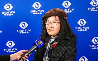 油画家吴垂娟感谢神韵带给华人世界丰富的想象力。 (郑顺利/大纪元)