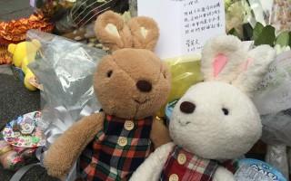 台北内湖发生小女童遭随机杀害案,总统当选人蔡英文29日下午到事发地点献花、玩偶和卡片。(民进党记者联谊会提供)
